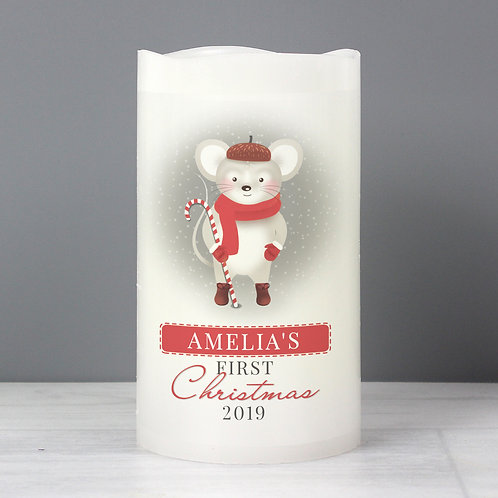 Personalised '1st Christmas' Mouse Nightlight LED Candle (PMC)