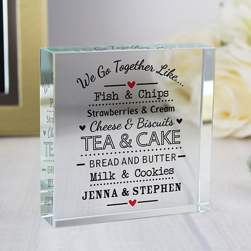 Personalised We Go Together Like... Large Crystal Token (PMC)