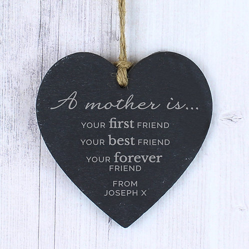 Personalised 'A Mother Is' Slate Heart Decoration (PMC)