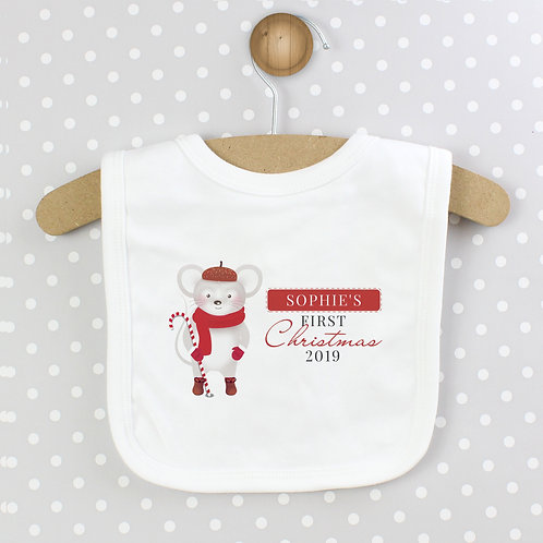 Personalised '1st Christmas' Mouse Bib (PMC)