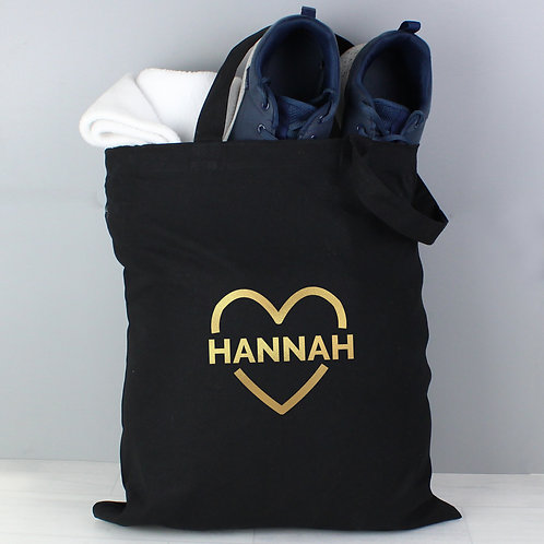 Personalised Gold Heart Black Cotton Bag (PMC)