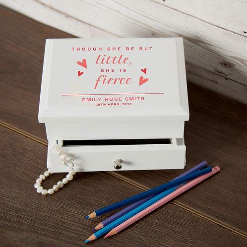 Little But Fierce Personalised Wooden Jewellery Box