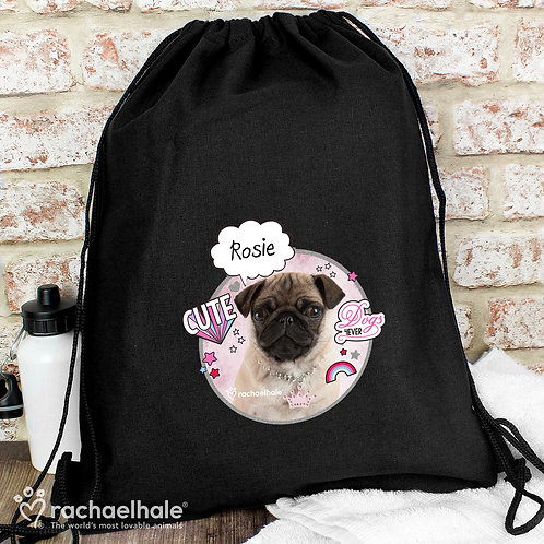 Personalised Rachael Hale Doodle Pug Black Swim & Kit Bag (PMC)