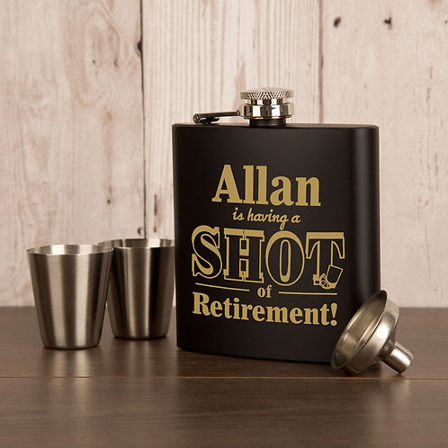 Retirement Hip Flask Laser Engraved with Recipients Name
