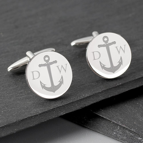 Personalised Anchor Round Cufflinks (PMC)