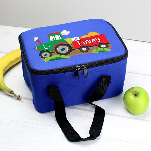 Personalised Tractor Blue Lunch Bag (PMC)