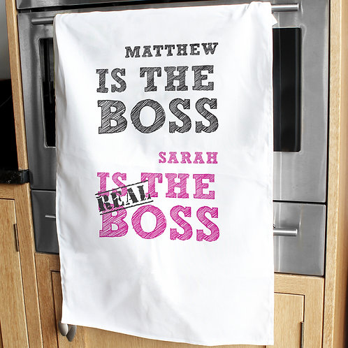 Personalised The Real Boss White Tea Towel (PMC)