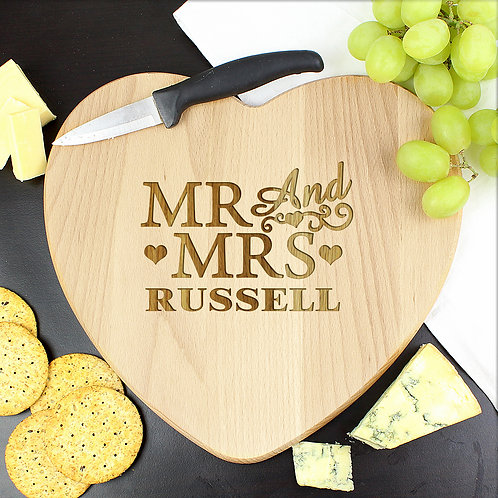 Personalised Mr & Mrs Heart Chopping Board (PMC)