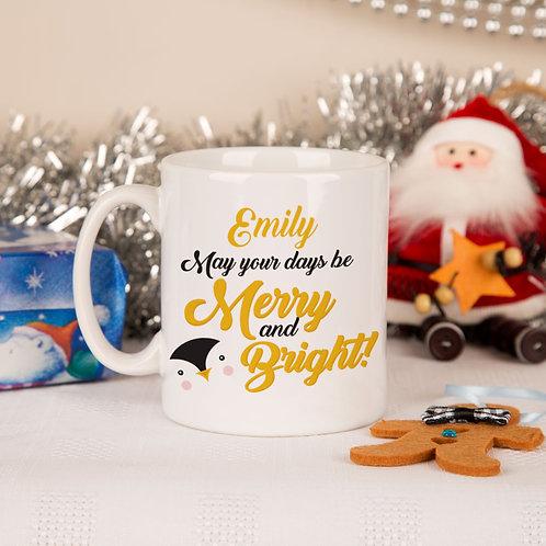 ??erry and Bright??Penguin Mug