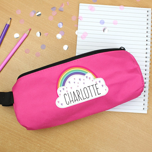 Personalised Rainbow Pink Pencil Case (PMC)