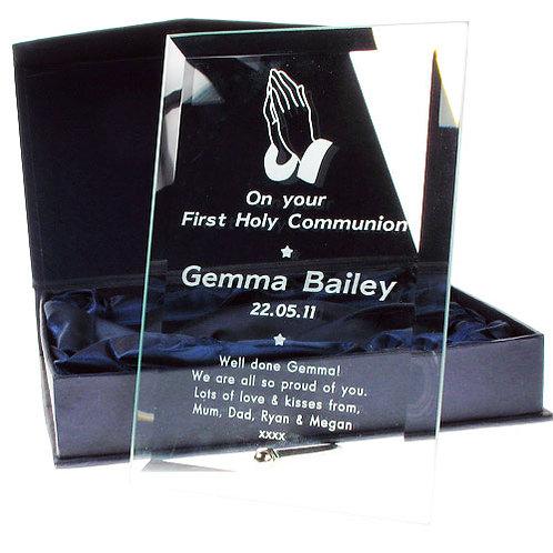 Glass Communion Frame: Praying Hands Design