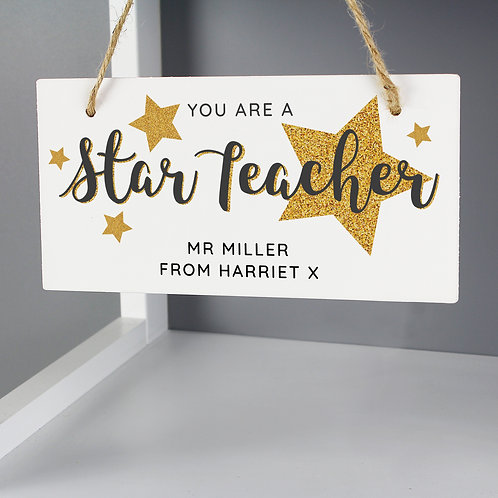 Personalised You Are A Star Teacher Wooden Sign (PMC)