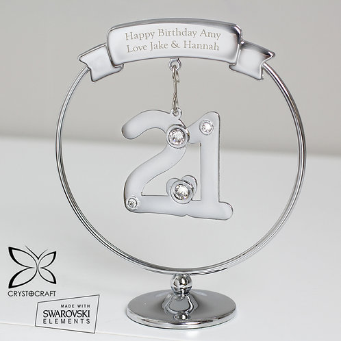 Personalised Crystocraft 21st Celebration Ornament (PMC)