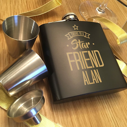 Cheers to a Star Friend Personalised Hip Flask