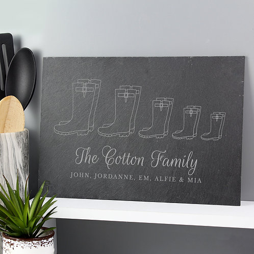 Personalised Welly Boot Family of Five Slate (PMC)