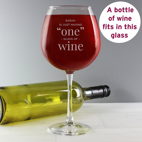 Personalised 'One Glass' Bottle of Wine Glass (PMC)