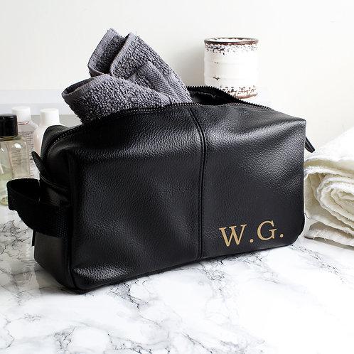 Personalised Luxury Initials Black leatherette Wash Bag (PMC)