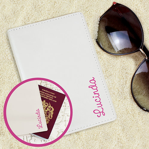 Personalised Pink Name Island Cream Passport Holder (PMC)