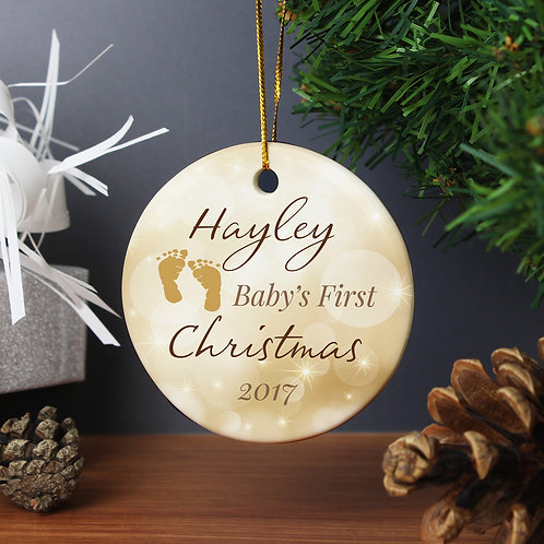 Personalised Neutral My 1st Christmas Round Ceramic Decoration (PMC)