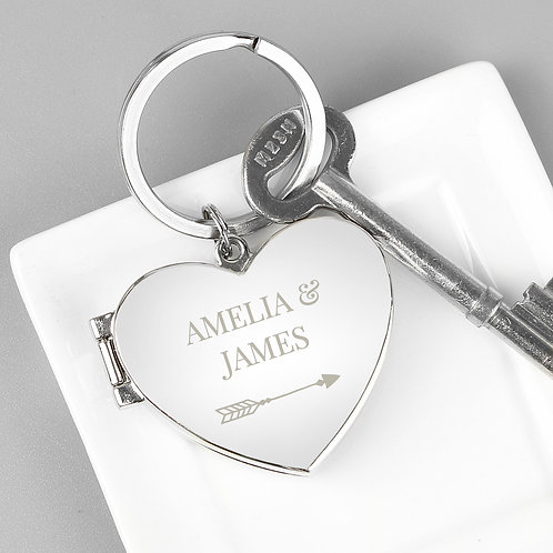Personalised Arrow Heart Photoframe Keyring (PMC)