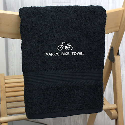 Personalised Bicycle Black Hand Towel (PMC)