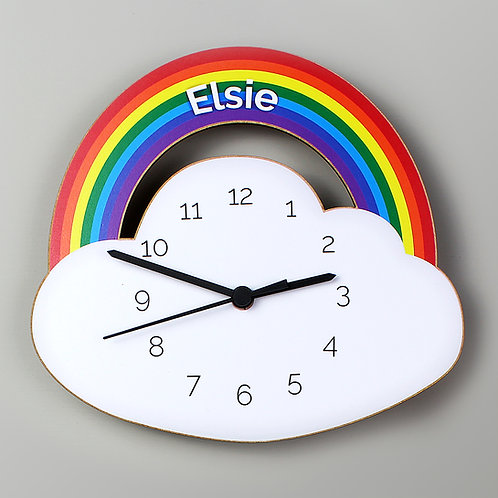 Personalised Rainbow and Cloud Shape Wooden Clock (PMC)