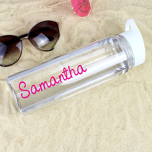 Personalised Pink Name Island Water Bottle (PMC)