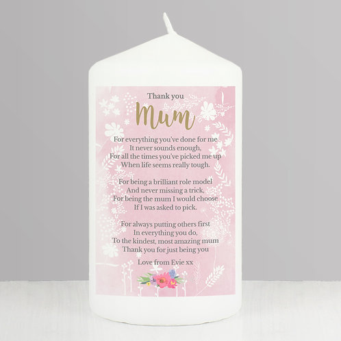 Personalised Floral Watercolour Pillar Candle (PMC)