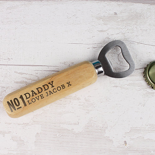 Personalised No.1 Wooden Bottle Opener (PMC)