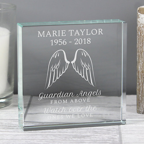 Personalised Guardian Angel Wings Large Crystal Token (PMC)