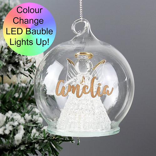 Personalised Christmas LED Angel Bauble (PMC)
