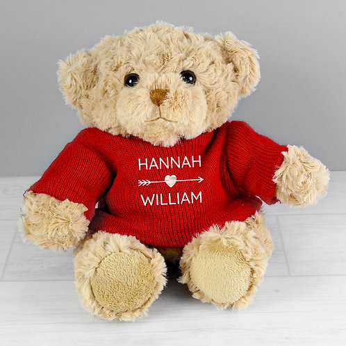 Personalised Couple In Love Teddy Bear in Red Jumper (PMC)
