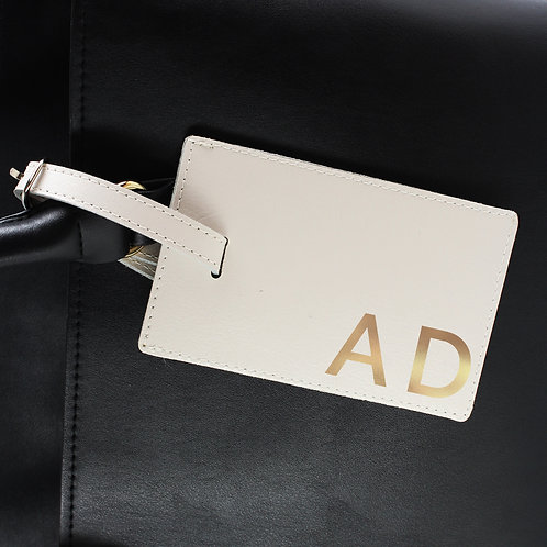 Personalised Gold Initials Cream Luggage Tag (PMC)