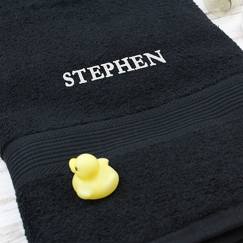 Personalised Black Bath Towel (PMC)