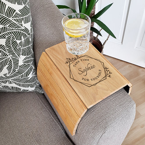 Personalised Take Time For Yourself Wooden Sofa Tray (PMC)