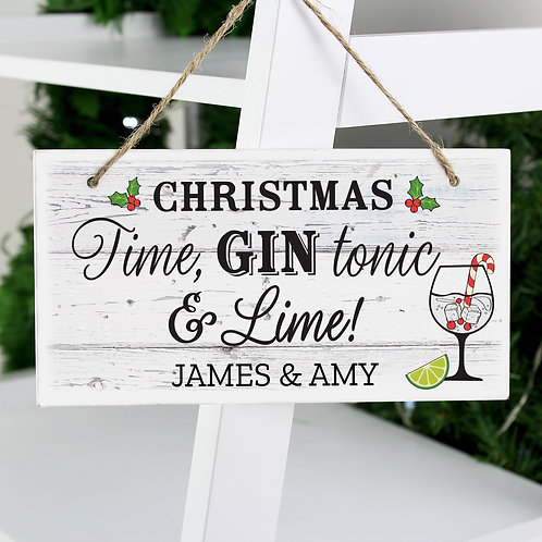 Personalised Christmas Gin Wooden Sign (PMC)