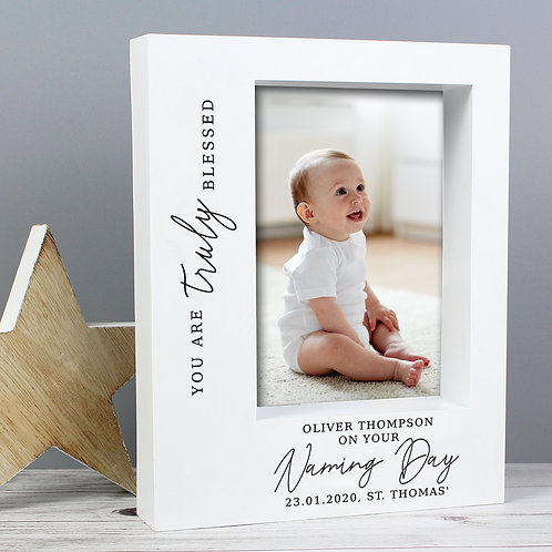 Personalised 'Truly Blessed' Naming Day 7x5 Box Photo Frame (PMC)