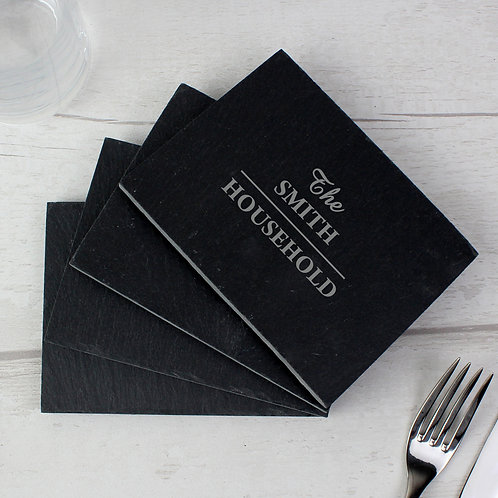 Personalised Family 4 Pack of Slate Coasters (PMC)