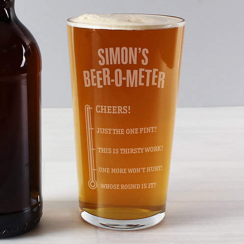 Personalised Beer-o-Meter Pint Glass (PMC)