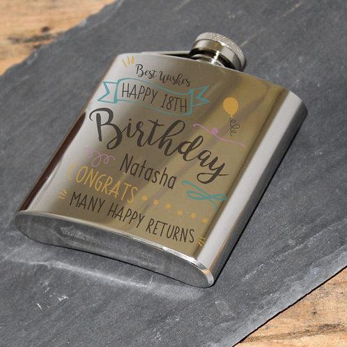 Birthday Slogan 5oz Printed 6oz Hip Flask