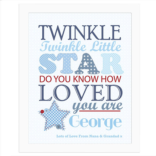 Personalised Twinkle Boys White Framed Print (PMC)
