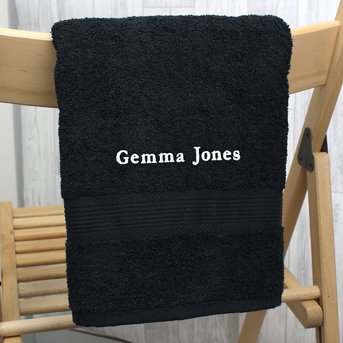 Personalised Black Hand Towel (PMC)