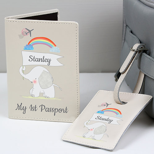 Personalised My 1st Cream Passport Holder & Luggage Tag Set (PMC)