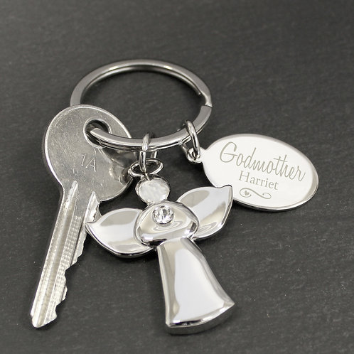 Personalised Silver Plated Swirls & Hearts Godmother Angel Keyring (PMC)