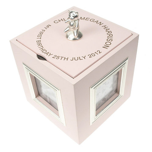 First Birthday Pink Musical Keepsake Box with Photo Frames