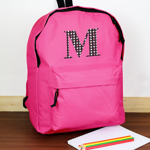 Personalised Star Initial Pink Backpack (PMC)