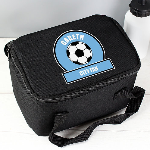 Personalised Sky Blue Football Fan Lunch Bag (PMC)
