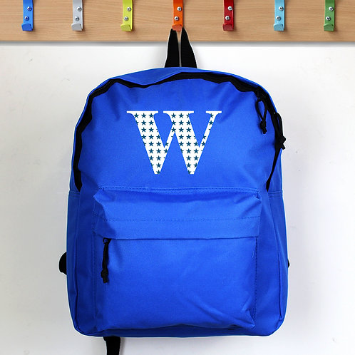 Personalised Star Initial Blue Backpack (PMC)