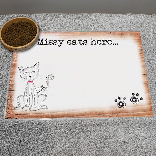 Personalised Scribble Cat Placemat (PMC)