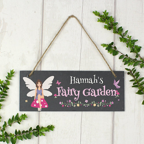 "Personalised """"Fairy Garden"""" Printed Hanging Slate Plaque (PMC)"
